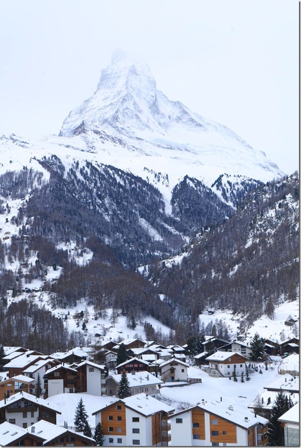 Alpine village and the Matterhorn in the background