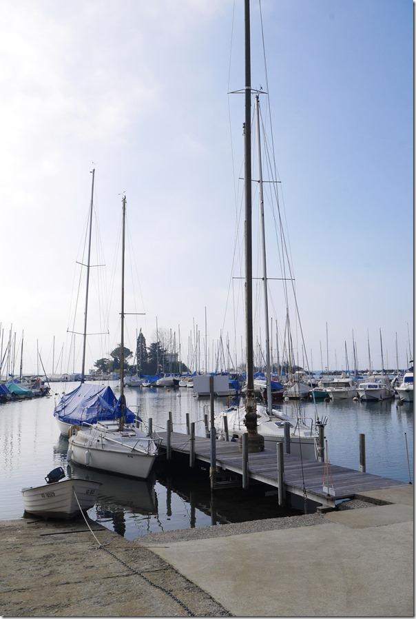 Sailboats along Quai des Villas du Bochet