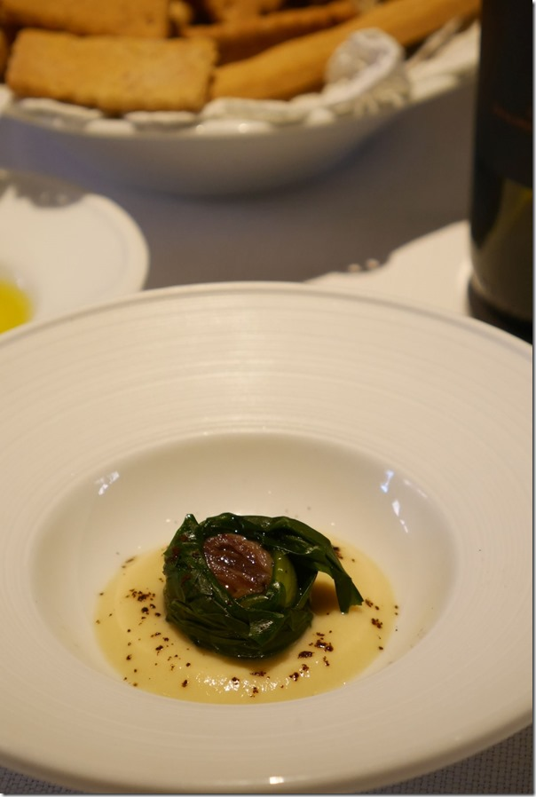 Amuse bouche - anchovy, chicory and celeriac puree