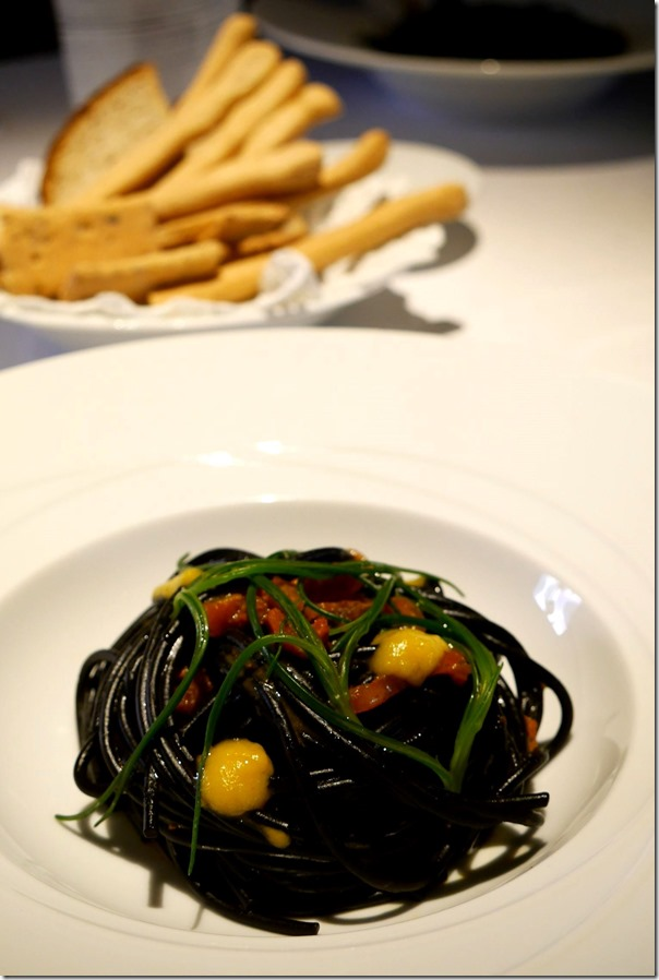 Black spaghetti, sea urchin, candied peppers and leaf cabbage €35 / A49