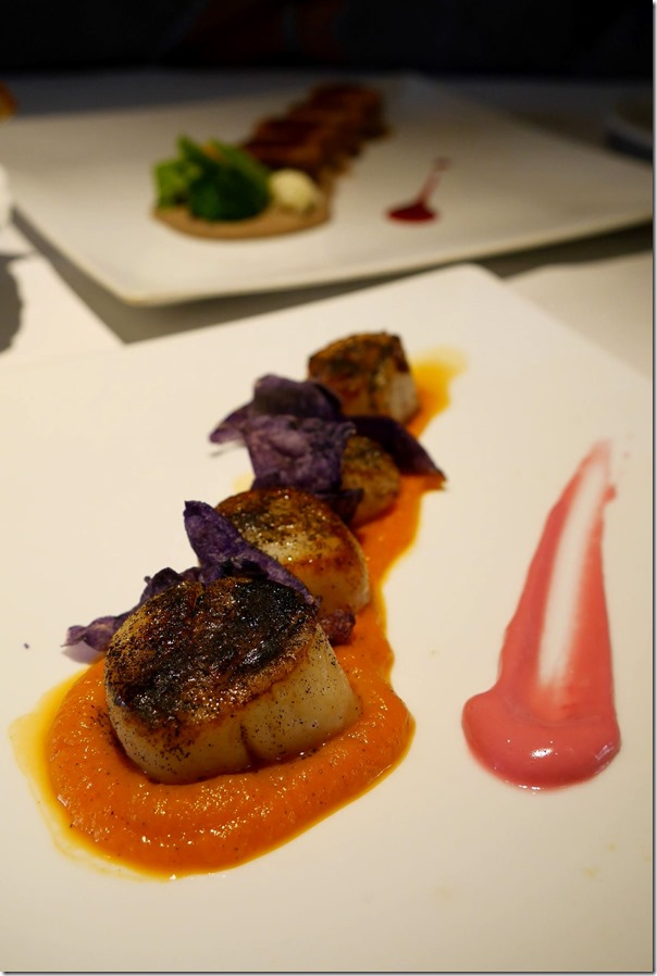 Roasted pilgrim scallops, carrots and smoked black tea €35 / A$49
