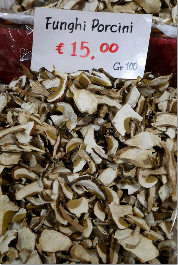 Porcini mushrooms €15 / A$21 per 100 grams