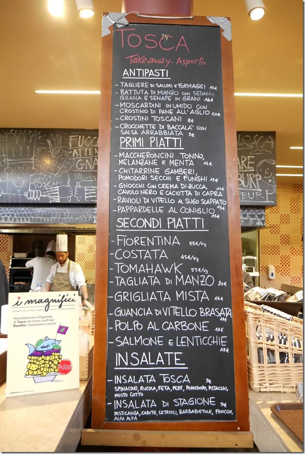 Tosca's menu