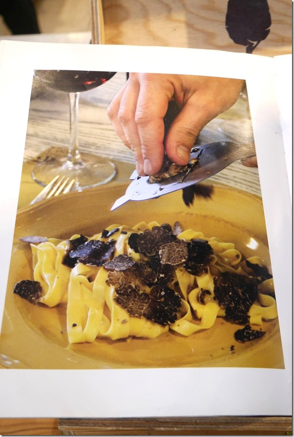Tagliatelle with black truffle shavings from a cookbook