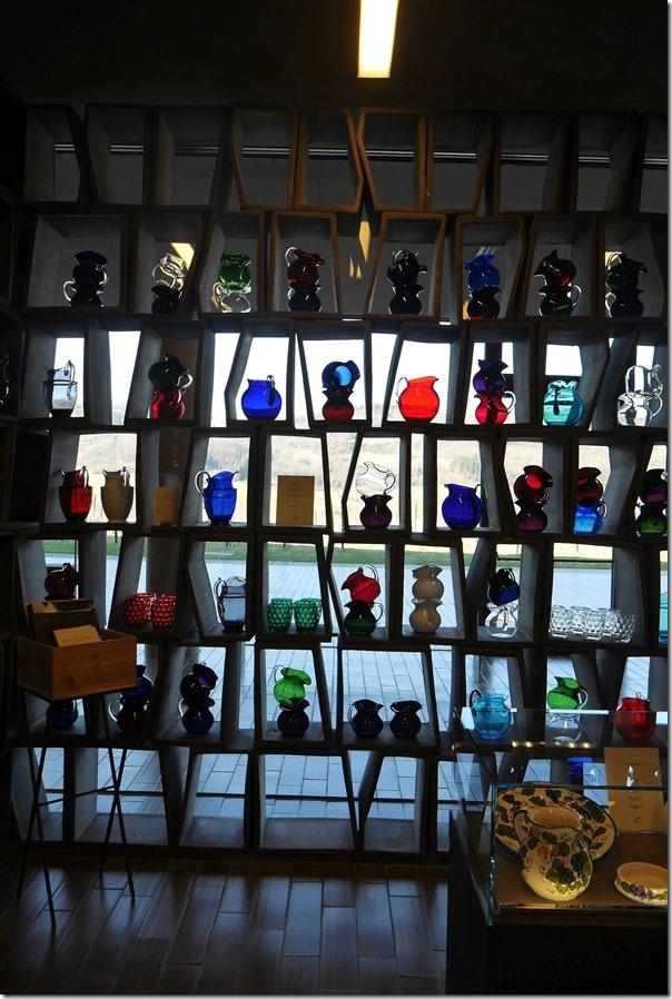 Italian glassware in the tasting room