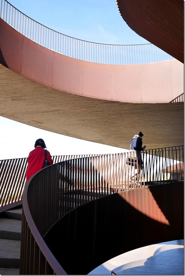 Spiral staircase leading up to the rooftop of Antinori winery