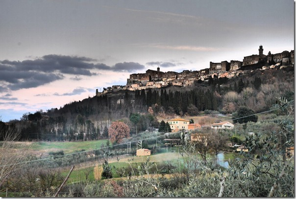 View of hilltop town of Montepulciano (dramatized setting on camera)