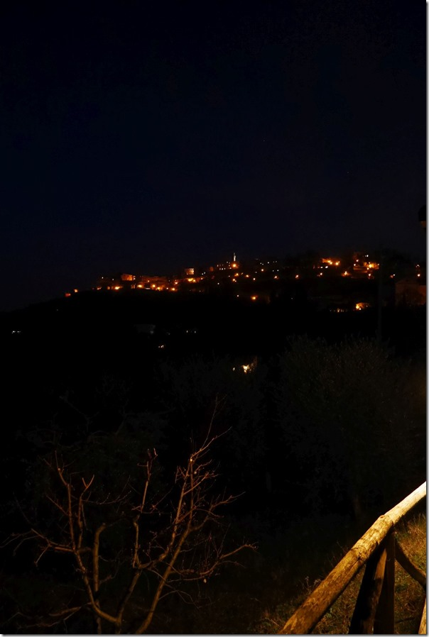 View of Montepulciano town on the hill