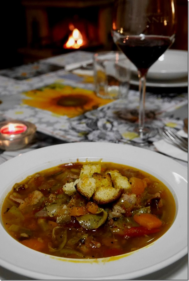 Tuscan style peasant soup with toasty bread crumbs