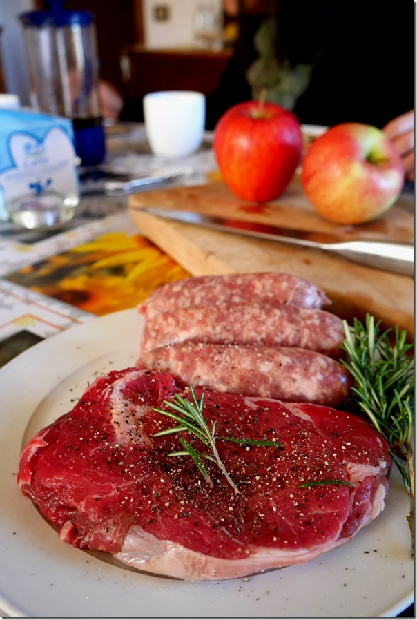 Italian style sausages and a rib-eye steak