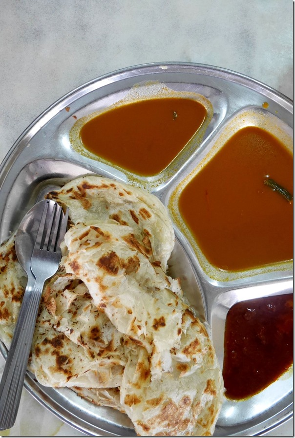 Roti canai with fish curry and sambal RM2.40 / A$0.70 cents for 2 pieces