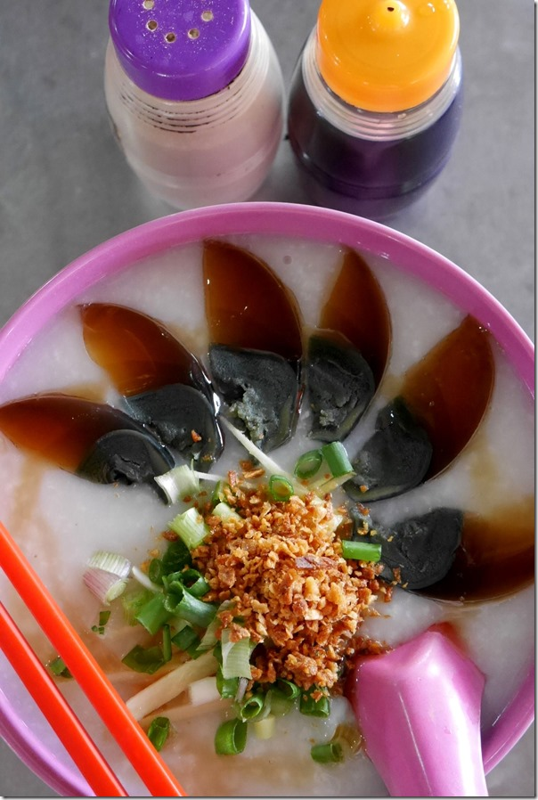 Preserved egg and lean pork congee RM6 / A$1.80