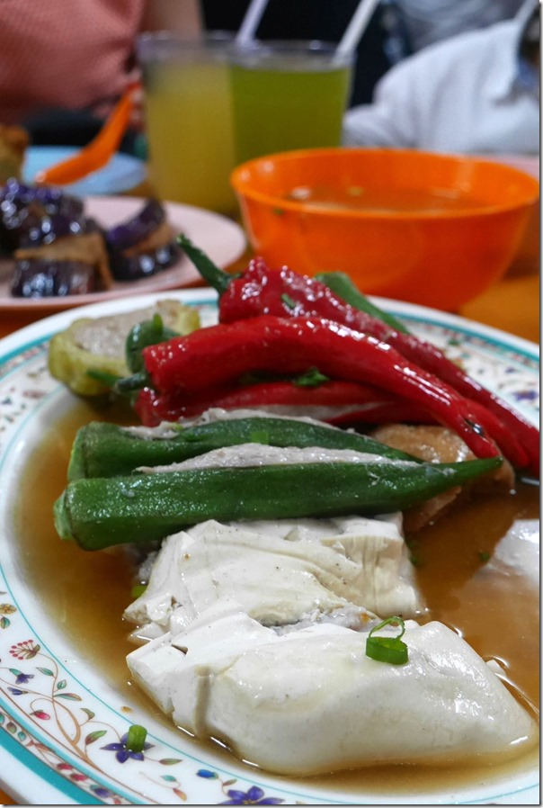 Soft white tofu, red chillies, okra and bitter gourd stuffed with fish paste