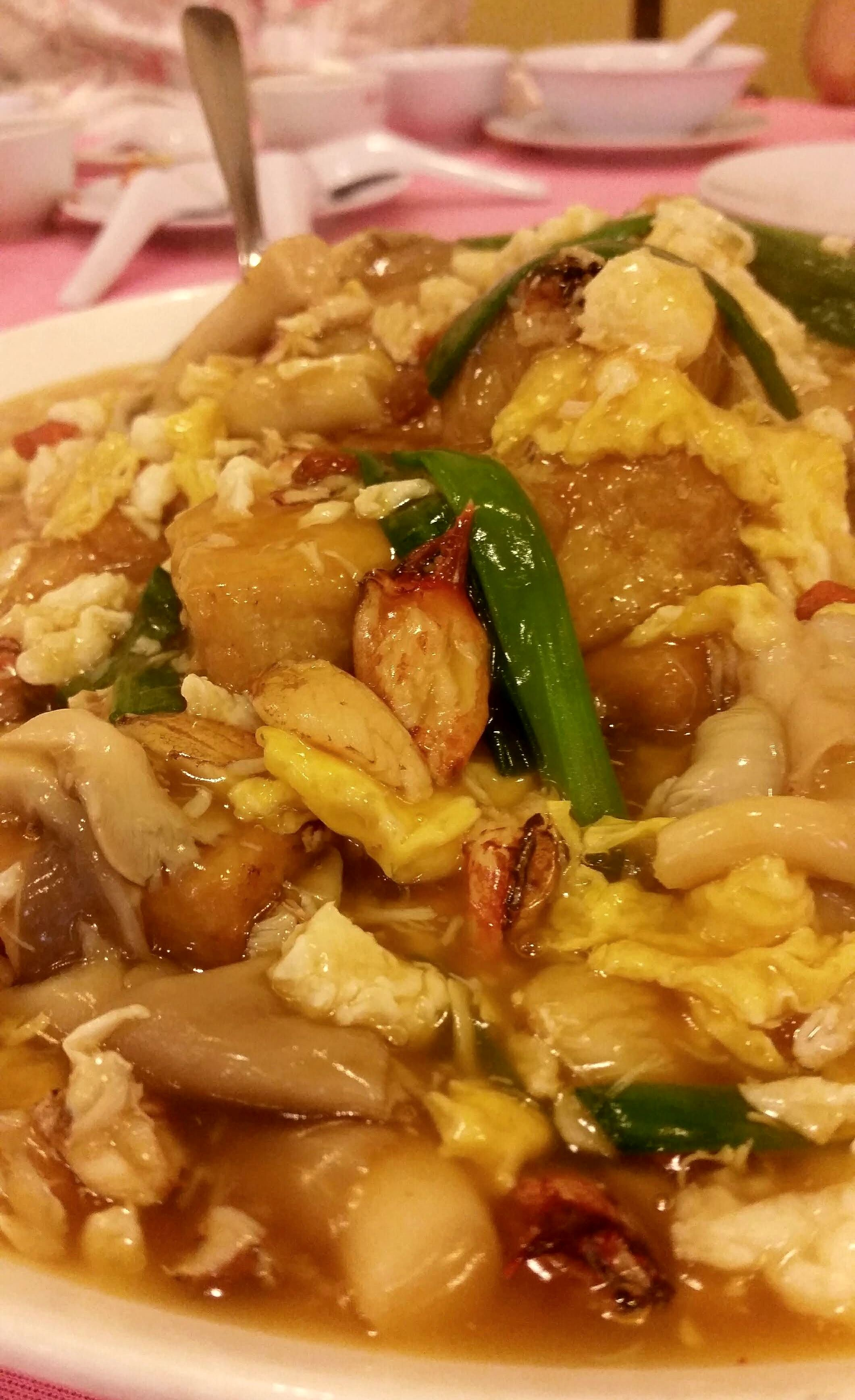 Braised tofu with egg, oyster mushroom and crab meat RM120 / A$40