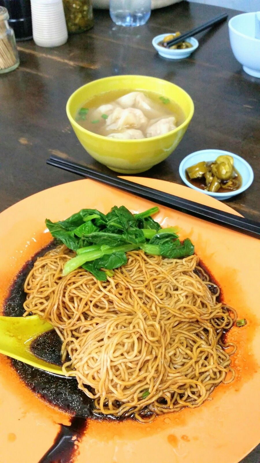 Malaysian style wanton noodles with wanton and char siew