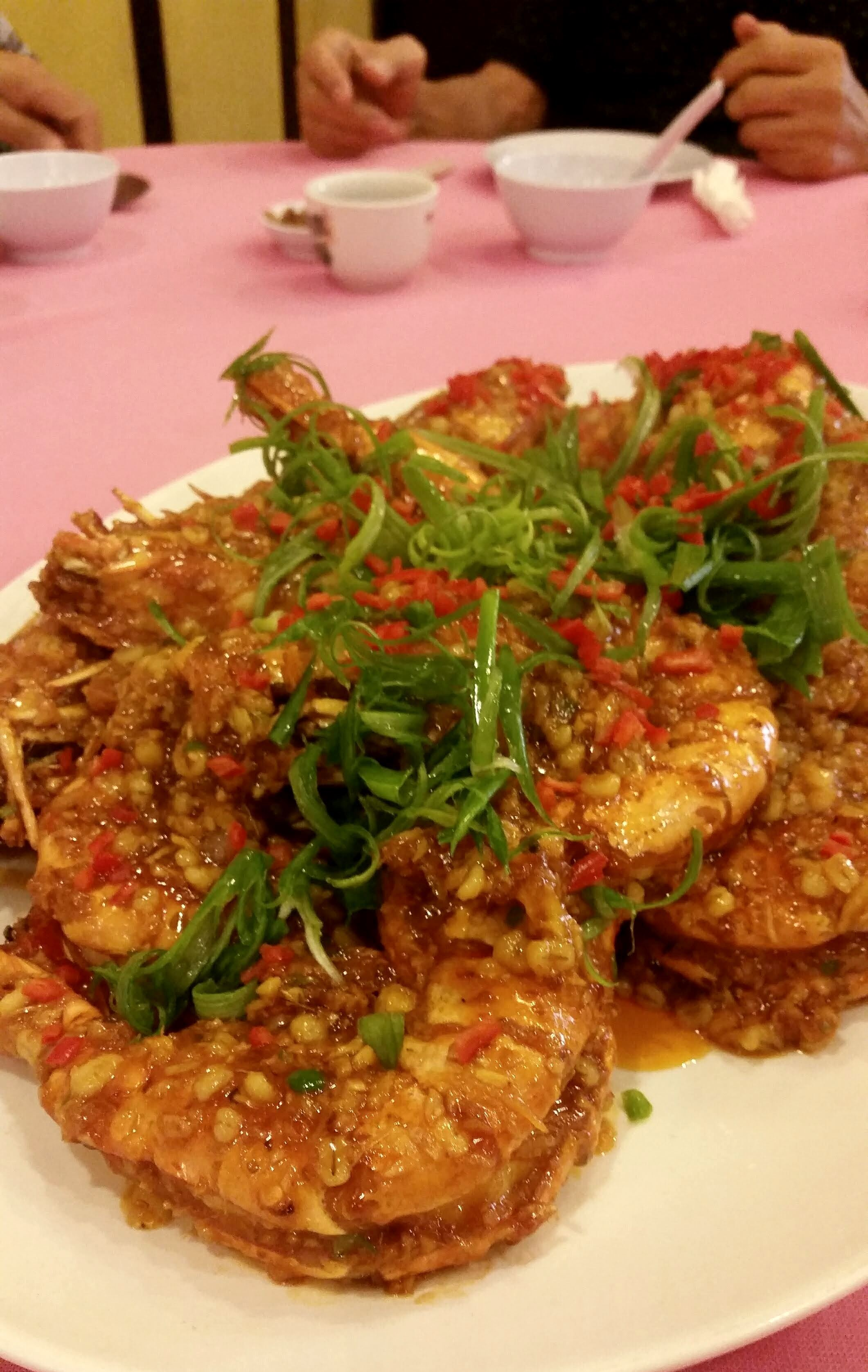 Jumbo prawns in spicy sweet barley and chilli sauce RM300 / A$100